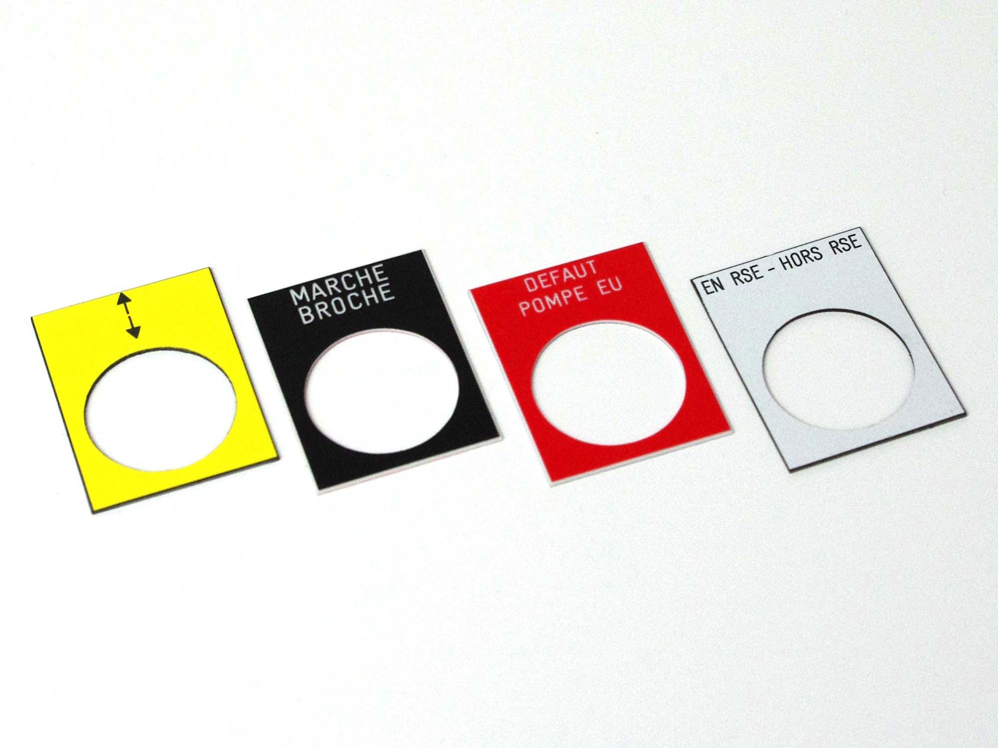 Etiquettes télémécanique perçage 22,5mm
