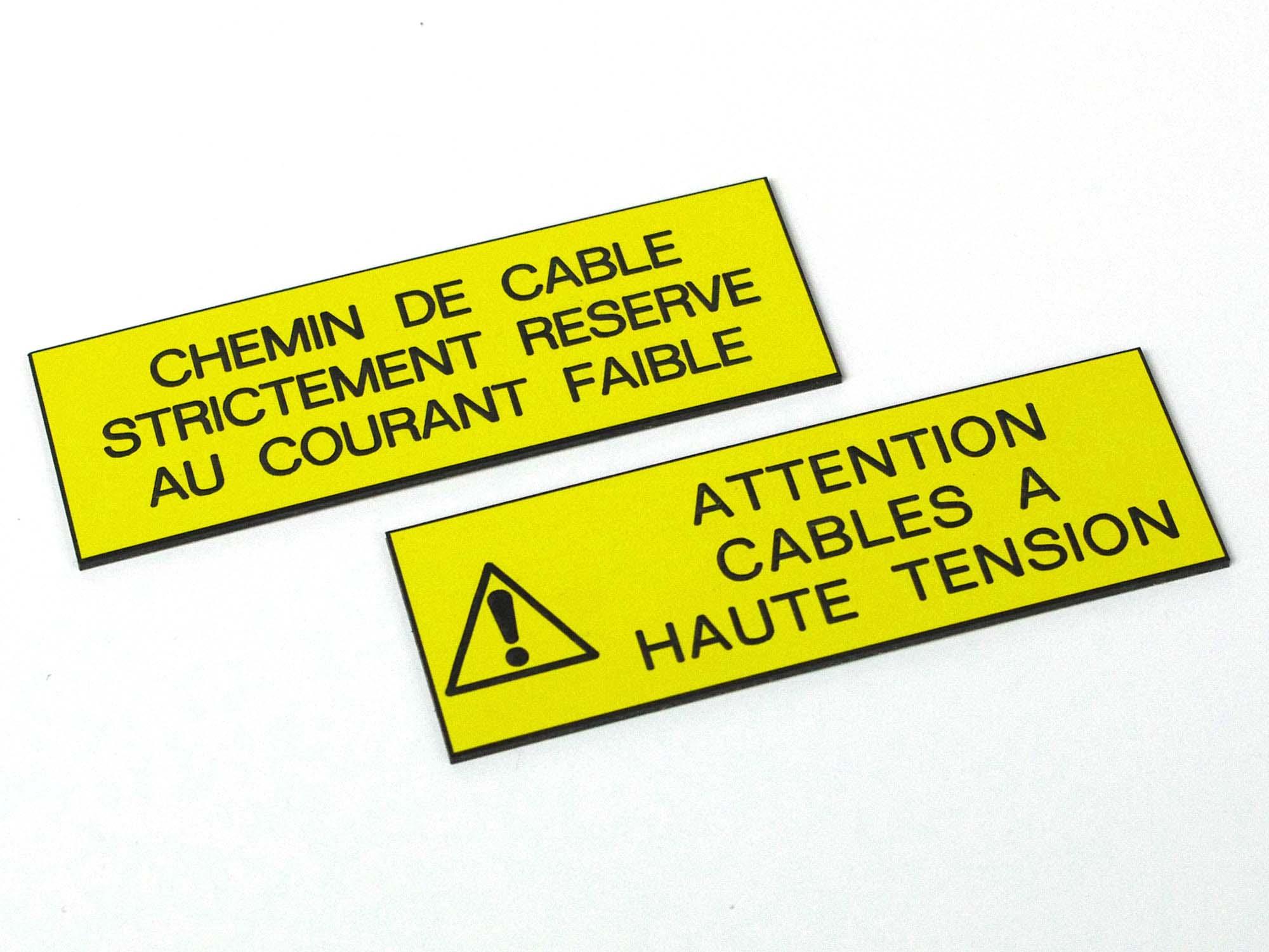 Etiquettes plastique adhésives information câbles électriques
