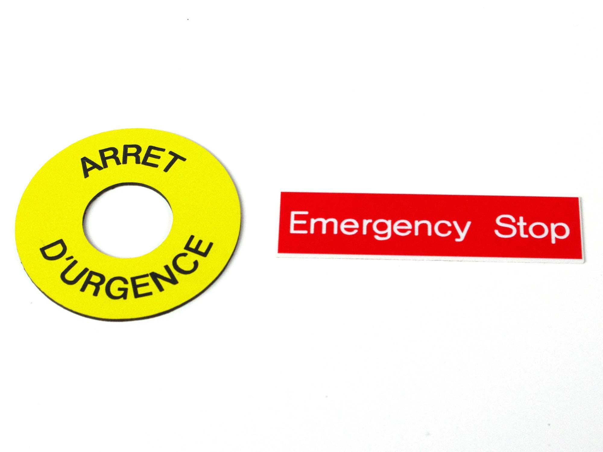 Etiquettes adhésives arrêt d'urgence