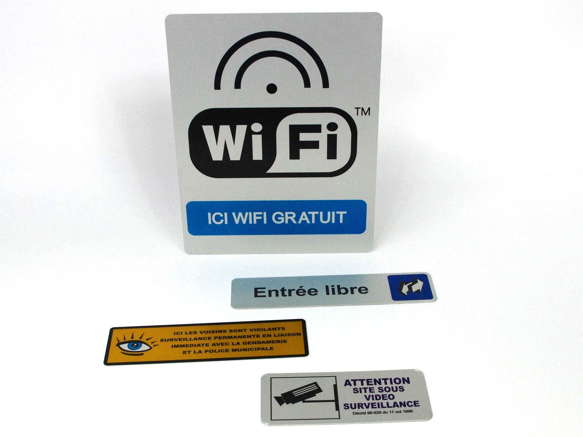 Plaque signalétique WIFI entrée libre surveillance