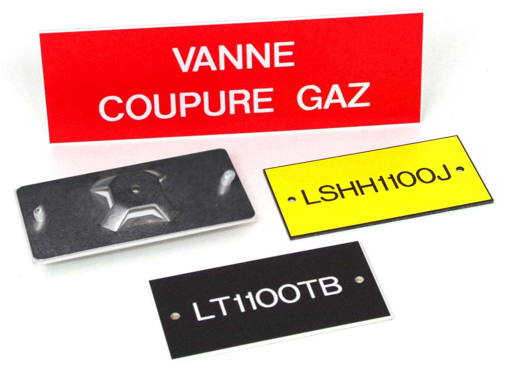 Plaque gravée marqueur identification vannes