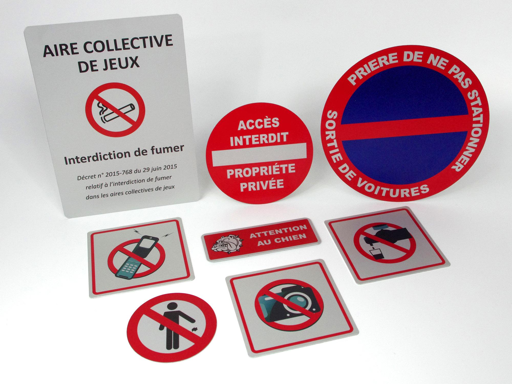 Panneaux et pictogrammes d'interdiction
